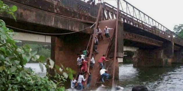 Rescue and relief work in progress after the Sanvordem Bridge collapsed in Curchorem, South Goa on Thursday.