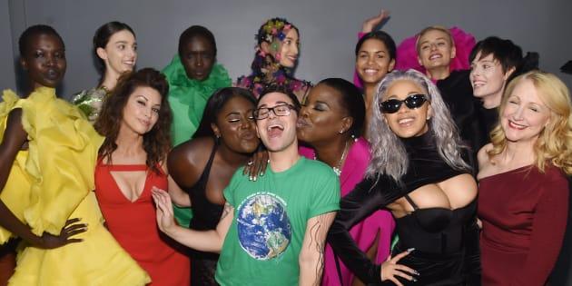 Gina Gershon, Danielle Brooks, Cardi B, Christian Siriano, Leslie Jones, Cardi B and Patricia Clarkson pose backstage for the Christian Siriano fashion show during 2017 New York Fashion Week.