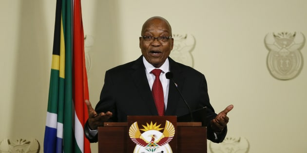 Jacob Zuma resigns as President of South Africa at the Union Buildings in Pretoria on February 14, 2018.