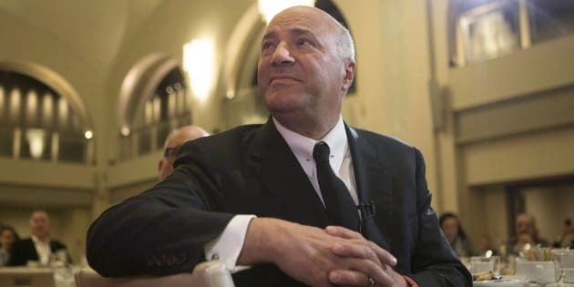 Kevin O'Leary listens to introductory remarks before speaking at the Empire Club luncheon in Toronto, on April 7, 2017.