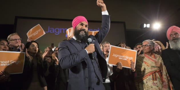 Jagmeet Singh celebrates with supporters after winning the NDP leadership in Toronto on Oct. 1, 2017.