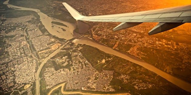 high angle view of New Delhi city of India on the air plane