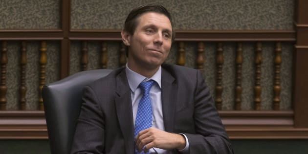 Former Ontario PC Leader Patrick Brown sits in his chair as an Independent MPP at the Queens Park Legislature in Torontoon March 28, 2018.