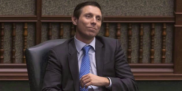 Former Ontario PC Leader Patrick Brown sits in his chair at the Queens Park Legislature in Toronto on March 28, 2018.
