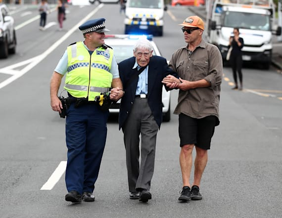 Man, 95, takes 4 buses to join anti-racism rally