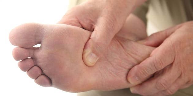 close up of the bottom of a man's foot