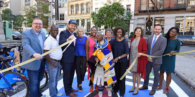 Ndebele artist Esther Mahlangu has been honoured with a mural dedicated to her work in Tribeca, New York City
