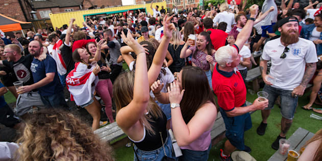 Football fans gather in The Old Crown, the oldest pub in Birmingham, England, to watch England play Croatia in the semi-final of the World Cup on July 11 2018.
