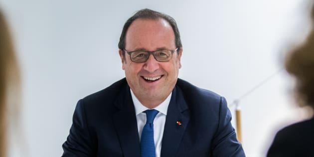 François Hollande dans les locaux de la fondation qu'il préside, La France s'engage, le 2 octobre 2017