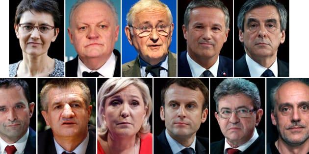 Les 11 candidats à l'élection présidentielle 2017.