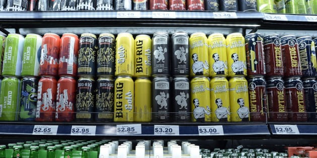 Beer is displayed at a grocery store in Ottawa on Aug. 9, 2018.