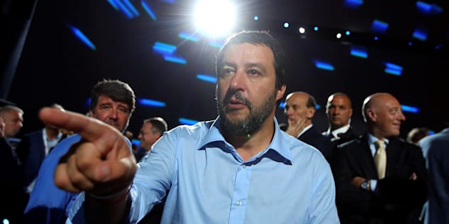 Interior Minister Matteo Salvini gestures as he arrives at the Italian Business Association Confcommercio meeting in Rome, Italy, June 7, 2018. REUTERS/Tony Gentile