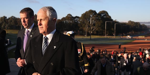 Prime Minister Malcolm Turnbull and Veterans' Affairs minister Dan Tehan attended the Stand-to Service at the Stone of Remembrance on the 50th anniversary of the Battle of Long Tan at the Australian War Memorial Canberra.