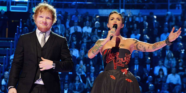 MILAN, ITALY - OCTOBER 25:  Co-hosts, musician Ed Sheeran and actress Ruby Rose appear on stage during the MTV EMA's 2015 at the Mediolanum Forum on October 25, 2015 in Milan, Italy.  (Photo by Jeff Kravitz/FilmMagic)