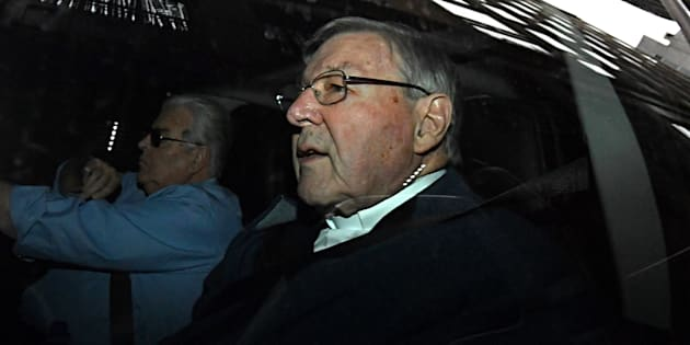 George Pell pictured before appearing at the Magistrates court.