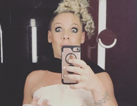Pink posts photo wearing her breast pump