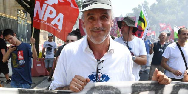 Philippe Poutou lors d'une manifestation contre la fermeture de l'usine Ford Blanquefort à Bordeaux, le 30 juin 2018.