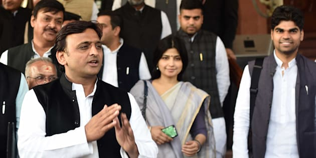 Uttar Pradesh Chief Minister Akhilesh Yadav with his wife Dimple Yadav and other state MPs during the Winter Session at Parliament.