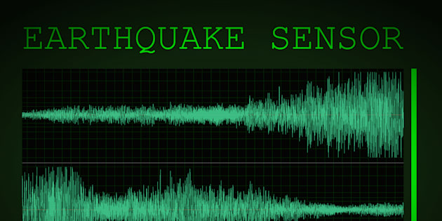 A mocked up screen showing seismic activity 'earthquake sensor' with 6.5 on the Richter scale.