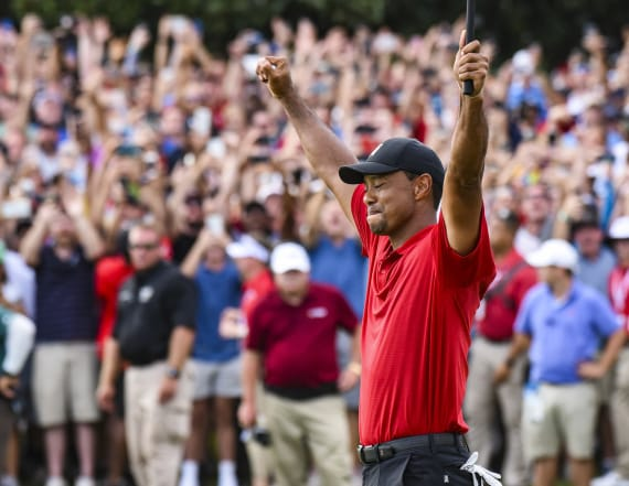 Celebrating crowd mobs course after Tiger Woods' win
