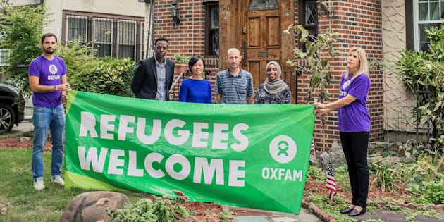Oxfam invites refugees from Somalia, Vietnam and Syria to Donald Trump's childhood home.