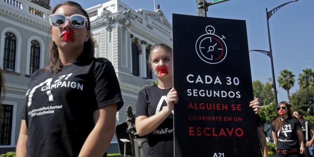 """La asociación civil A21 realizó en 2017 una marcha denominada """"Caminando por la Libertad"""" para crear conciencia sobre la necesidad de combatir la trata de personas en Guadalajara, Jalisco."""