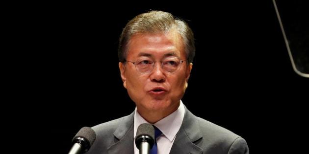韓国の文在寅大統領(2017年8月15日撮影)