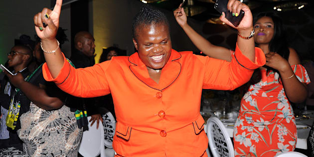 Faith Muthambi dancing during the gala dinner in honour of Dr Nkosazana Dlamini-Zuma held at the Ekurhuleni convention centre on December 13, 2017 in Johannesburg.
