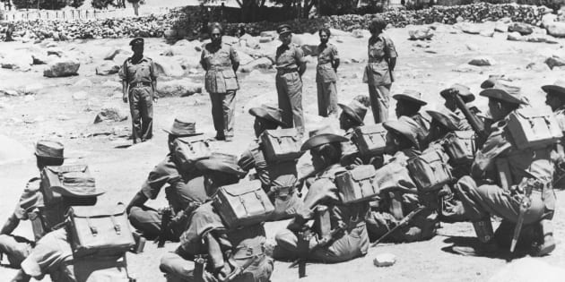 Indian troops being inspected before leaving their posts in the Ladakh border region during the war between India and China, 1962-63. (Photo by � Hulton-Deutsch Collection/CORBIS/Corbis via Getty Images)