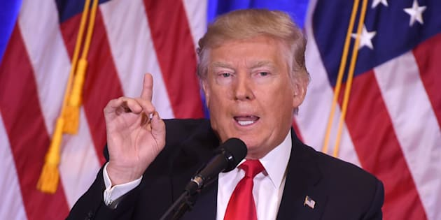 US President-elect Donald Trump gives a press conference January 11, 2017 in New York. Donald Trump is holding his first news conference in nearly six months Wednesday, amid explosive allegations over his ties to Russia, a little more than a week before his inauguration. / AFP / DON EMMERT        (Photo credit should read DON EMMERT/AFP/Getty Images)