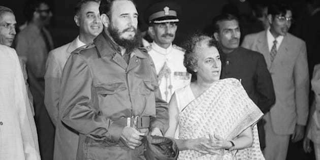NEW DELHI: Fidel Castro is met by Indira Gandhi on his arrival at airport.