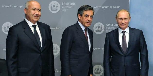 Vladimir Poutine, Francois Fillon et Fouad Makhzoumi en 2015 (illustration)