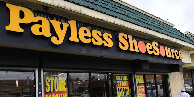 Customers leave a Payless Shoes store in Los Angeles on Feb. 17, 2019.