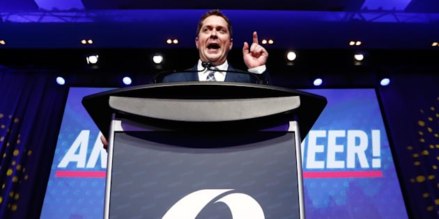 Andrew Scheer speaks after winning the leadership during the Conservative Party of Canada leadership convention in Toronto on May 27, 2017