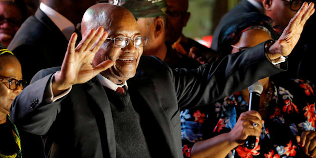 South Africa's President Jacob Zuma celebrates with his supporters after he survived a no-confidence motion in parliament in Cape Town, South Africa, August 8, 2017.