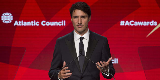 Prime Minister Justin Trudeau speaks at the Atlantic Council Global Citizen Awards Gala dinner at the Intrepid Sea, Air & Space Museum in New York City on Tuesday.