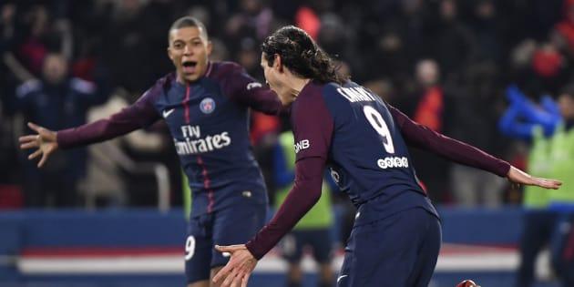Kylian Mbappé vient d'ouvrir le score contre l'OM le 25 février 2018.