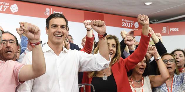 Pedro Sánchez tras su victoria en las primarias del 21 de mayo