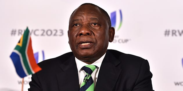 President Cyril Ramaphosa at a press conference after South Africa presented its bid to host the 2023 Rugby World Cup in London on September 25 2017.
