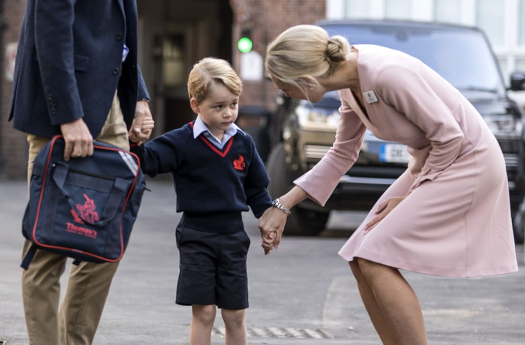 georges first day in school London - britain's prince george started his first day of school on thursday but palace officials said his pregnant mother kate was too unwell to attend and he was dropped off by his father prince.