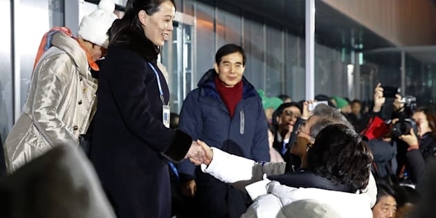 PYEONGCHANG-GUN, SOUTH KOREA - FEBRUARY 09:  Kim Yo Jong, left, sister of North Korean leader Kim Jong Un, shakes hands with South Korean President Moon Jae-in at the opening ceremony of the PyeongChang 2018 Winter Olympic Games at PyeongChang Olympic Stadium on February 9, 2018 in Pyeongchang-gun, South Korea.  (Photo by Patrick Semansky - Pool /Getty Images)