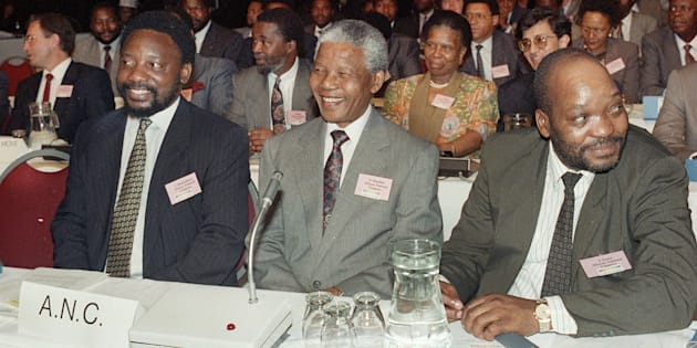 Johannesburg, December 1991: ANC leadership at CODESA (Convention for a Democratic South Africa) negotiations. Nelson Mandela, Thabo Mbeki, Cyril Ramaphosa.