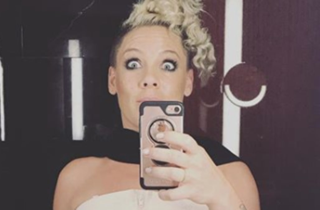 0a7d4e3eda1 Pink gets real about being a working mom by posting photo wearing breast  pump