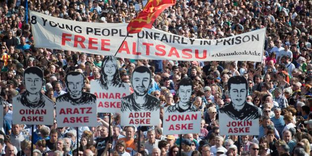 Manifestación en Pamplona, el pasado 16 de junio, pidiendo la libertad para los procesados de Alsasua.