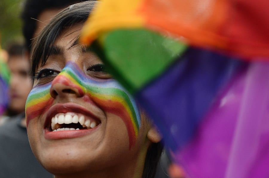An Indian supporter of the lesbian, gay, bisexual, transgender (LGBT) community takes part in a pride parade in in Chennai on June 24, 2018. (Photo by ARUN SANKAR / AFP)        (Photo credit should read ARUN SANKAR/AFP/Getty Images)