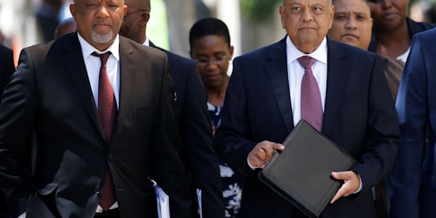 South African Finance Minister Pravin Gordhan and  Deputy Finance Minister Mcebisi Jonas  arrive for the 2017 Budget Speech at Parliament in Cape Town, South Africa, February  22, 2017. REUTERS/Mike Hutchings