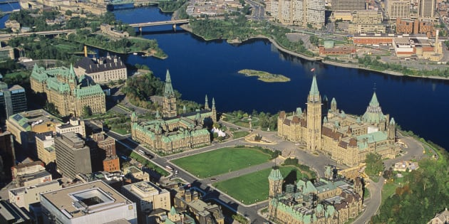 Undated aerial view of the Parliament buildings in downtown Ottawa.