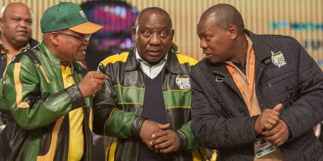 President Jacob Zuma with Deputy President Cyril Ramaphosa and ANC treasurer-general –– and would-be president –– Zweli Mkhize during the African National Congress (ANC) 5th national policy conference at the Nasrec Expo Centre on July 05, 2017 in Johannesburg, South Africa.