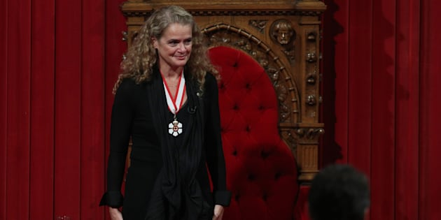 The 29th Governor general Julie Payette acknowledges the applause in the Senate in Ottawa, Ontario, October 2, 2017. (LARS HAGBERG/AFP/Getty Images)