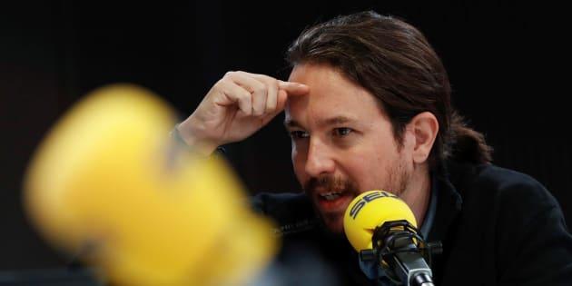 El secretario general de Podemos, Pablo Iglesias, el pasado lunes durante una entrevista en la Cadena SER.